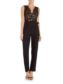 Little Mistress Sleeveless Embroidered Top Jumpsuit