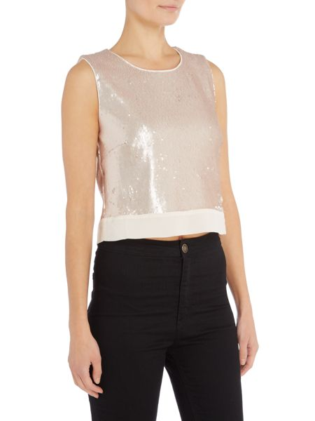 Little Mistress Sleeveless Sequin Crop Top