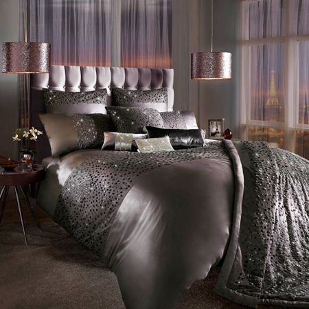 Kylie Minogue Eva mauve square pillowcase