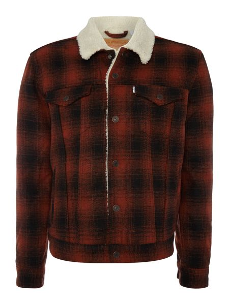 Levi's Type 3 fleece lined plaid sherpa jacket