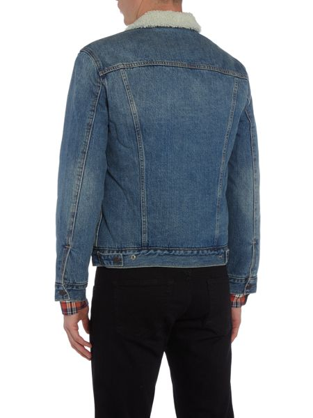 Levi's Type 3 fleece lined light wash sherpa jacket