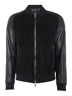 Mornas lamb leather and goat suede bomber jacket