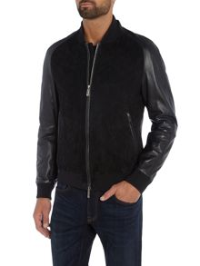 Hugo Boss Mornas lamb leather and goat suede bomber jacket