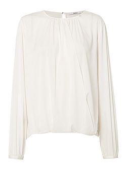 Wrap-Front Stretch Crepe Blouse