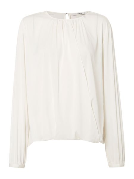 Replay Wrap-Front Stretch Crepe Blouse