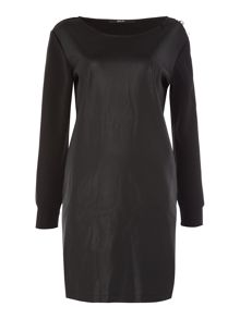 Replay Fleece And Faux Leather Dress
