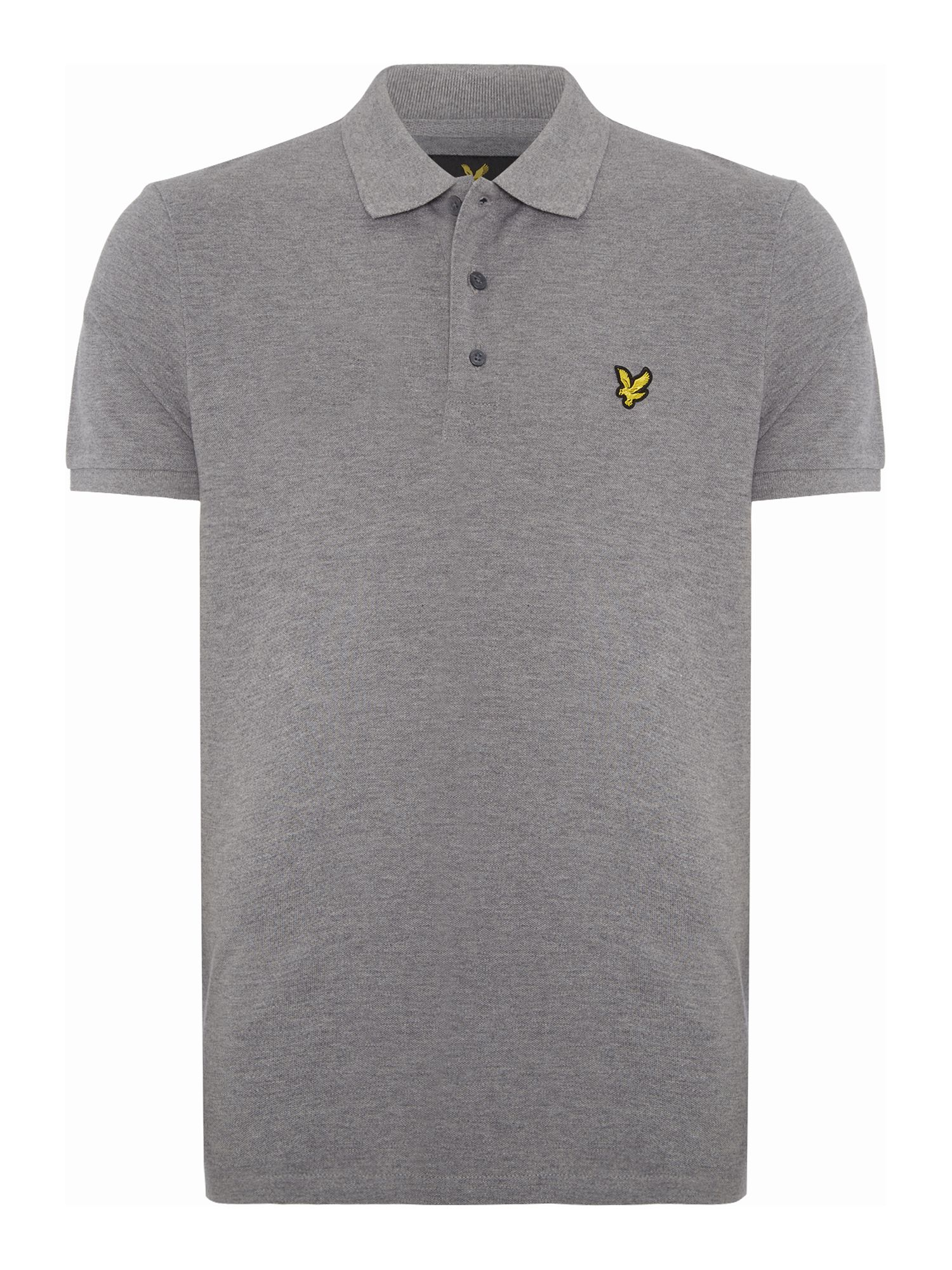 Men's Lyle and Scott Short Sleeve Plain Pique Polo, Mid Grey Marl