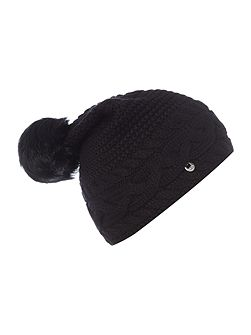Oversized cable knit beanie hat