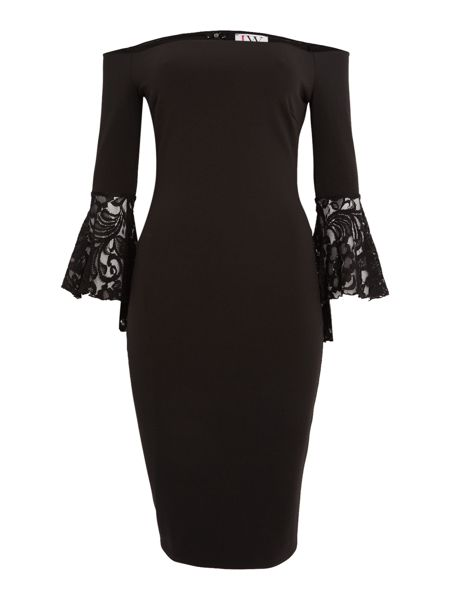 Jessica Wright Sleeveless Bardot Bodycon Lace Dress