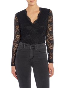 Jessica Wright Long Sleeved Lace Body Top