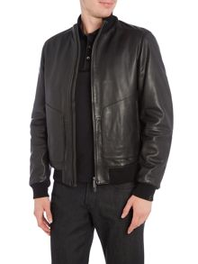 Hugo Boss Gropin 2 pocket zip through leather jacket