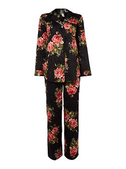 Clasis notch collar floral pyjama set