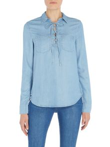Paige Drawstring Chambray shirt