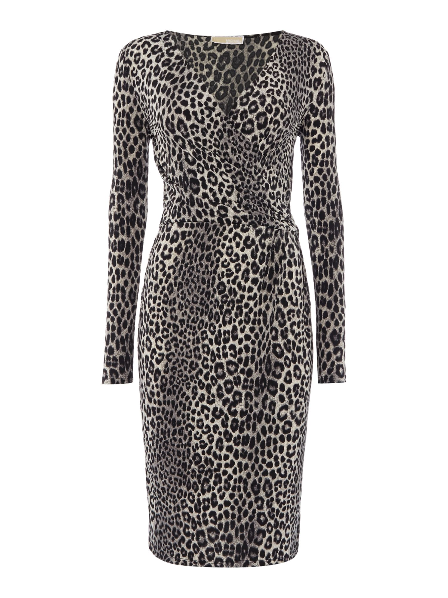 Michael Kors Panther Long Sleeve Wrap Dress, Black