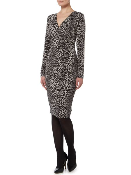 Michael Kors Panther Long Sleeve Wrap Dress