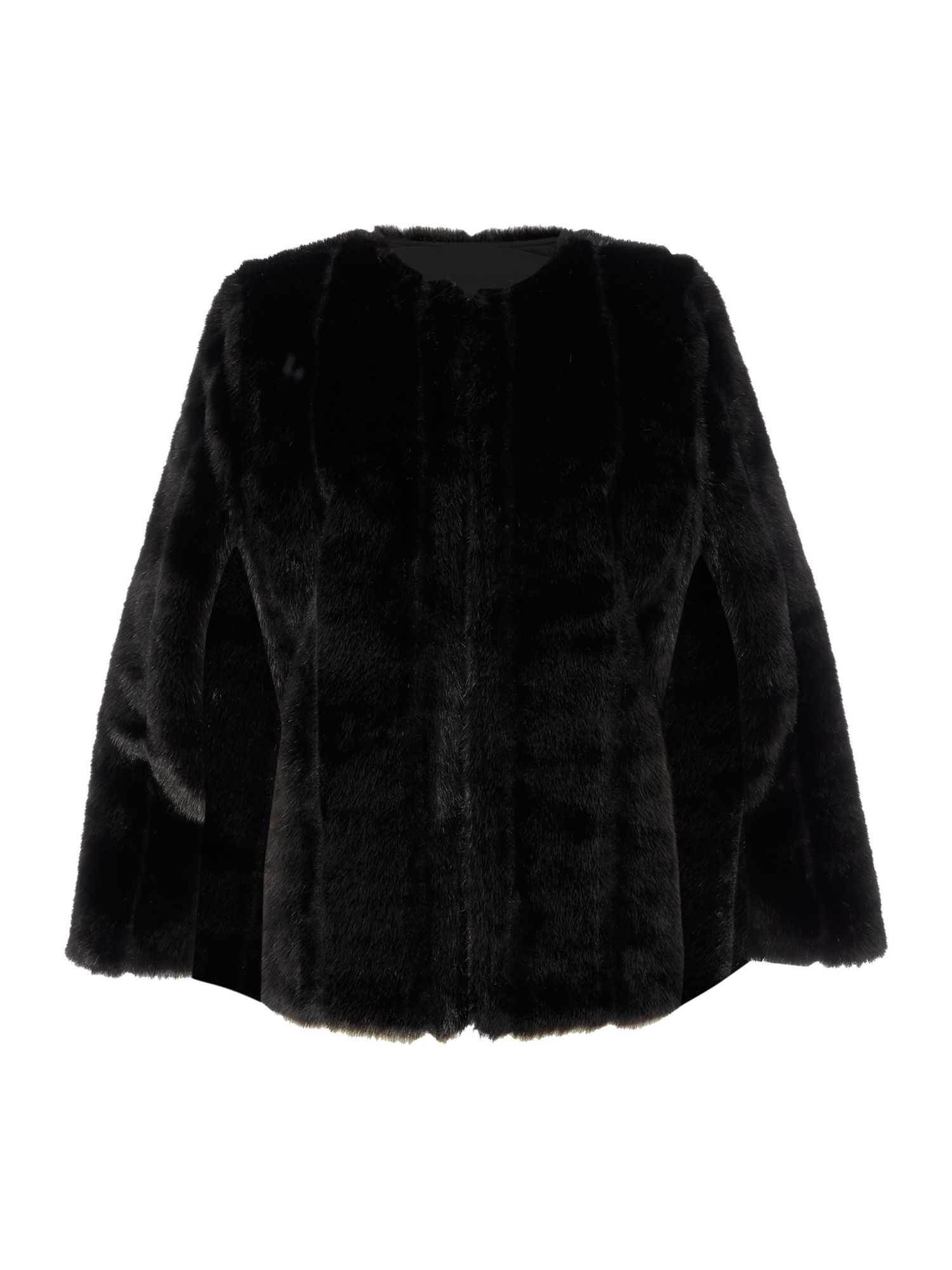 Michael Kors Faux Fur Cape, Black