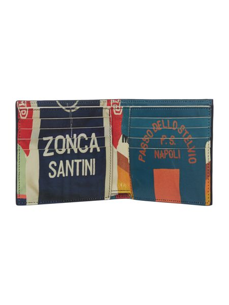 Paul Smith London Bilfold Wallet With Retro Cycling Print