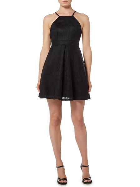 tfnc Sleeveless Halter Neck Fit and Flare Dress