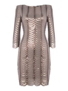tfnc 3/4 Sleeve Scallop Embellished Bodycon Dress