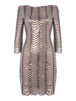 3/4 Sleeve Scallop Embellished Bodycon Dress