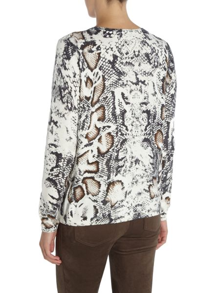 Oui Snakeprint scoopneck sweater