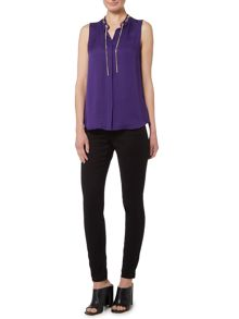 Michael Kors Sleeveless chain neck tie top