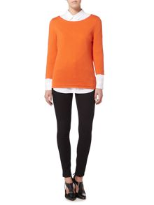 Oui 3/4 Sleeve scoop neck sweater