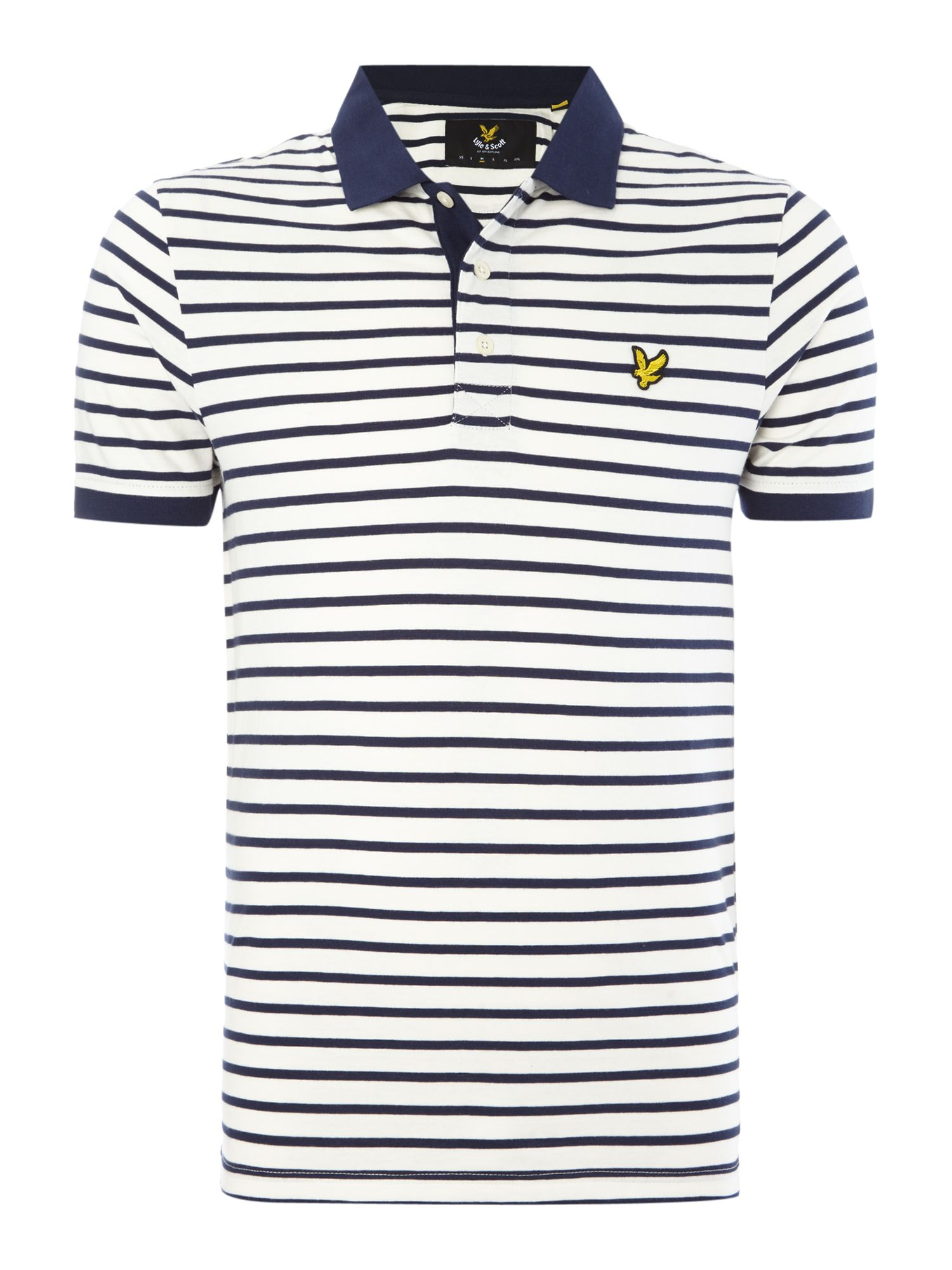 Men's Lyle and Scott Breton Stripe Short-Sleeve Polo Shirt, White & Blue