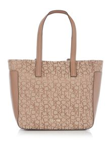 Calvin Klein Nina logo neutral small tote bag