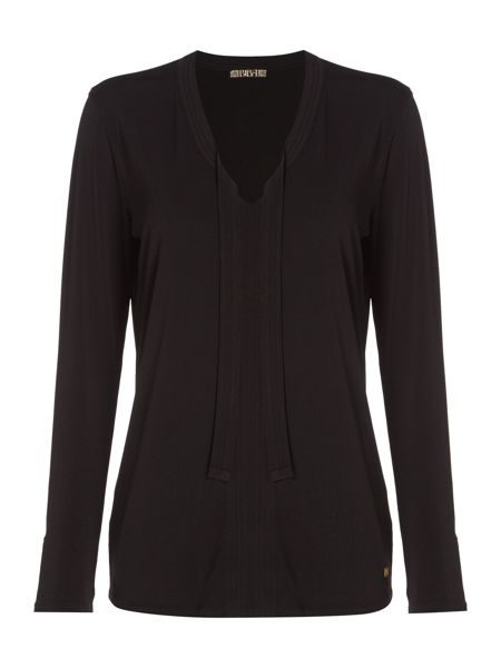 Biba Tie neck stitch detail top