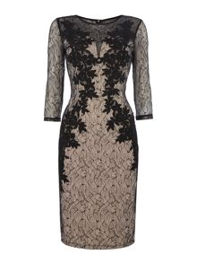 Little Mistress 3/4 Sleeve Lace Overlay Bodycon Dress