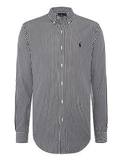 Long sleeve slim fit stripe shirt