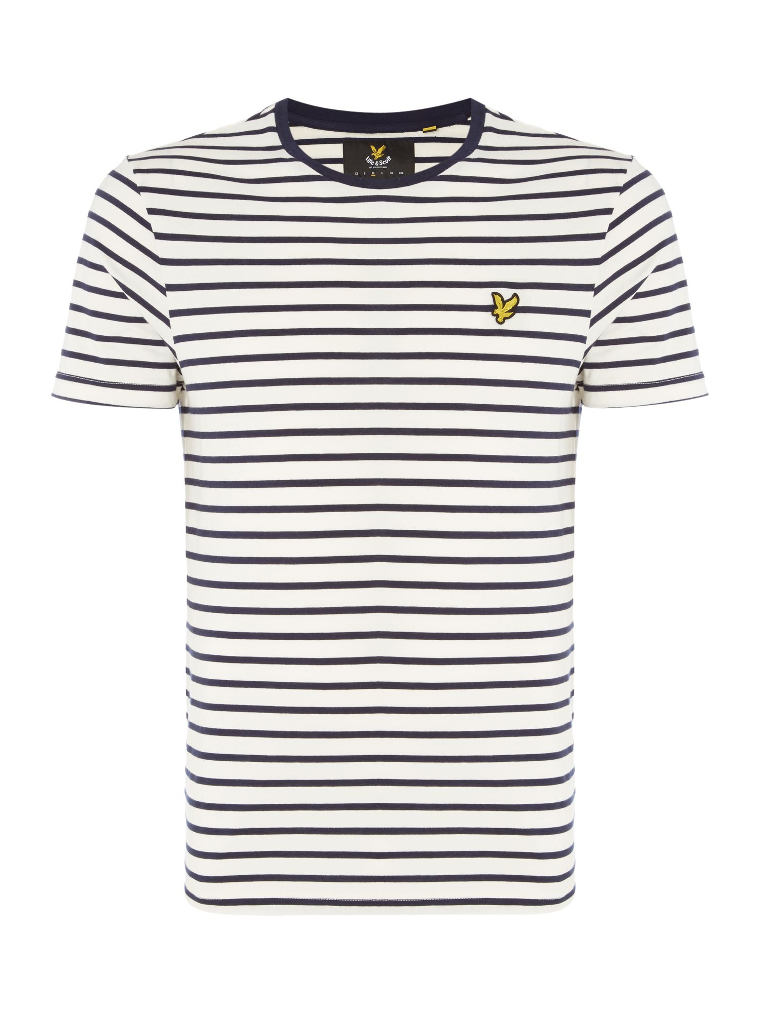 Men's Lyle and Scott Breton Stripe Crew Neck T-Shirt, White & Blue