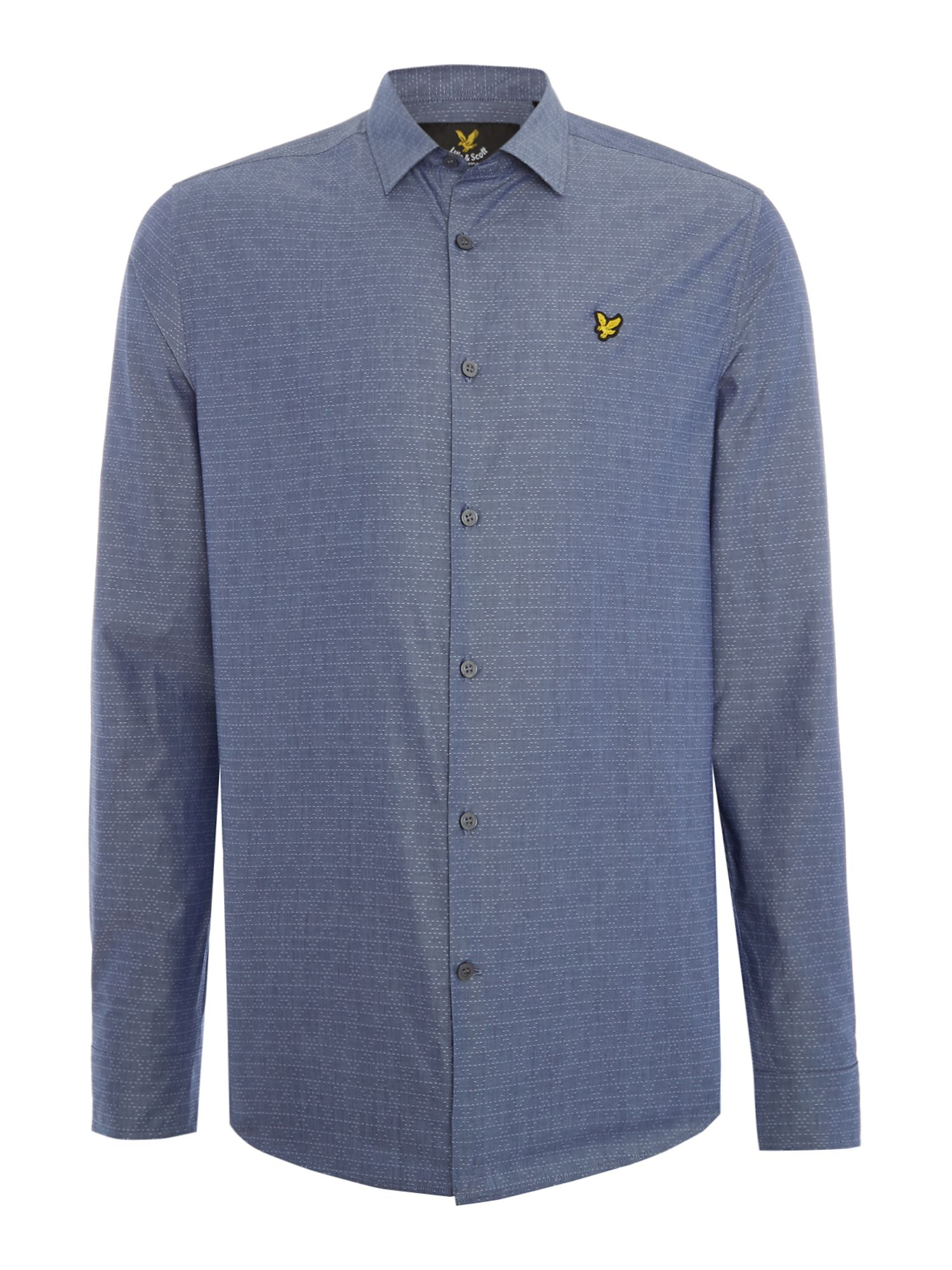 Mens Lyle and Scott Lyle & Scott Long Sleeve Diagonal Stitch Shirt Navy