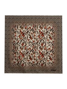 Guess Leopard print boxed silk square scarf