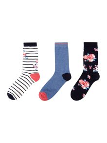 Dickins & Jones Eloise floral 3 pack sock
