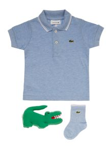 Lacoste Boys Pique Polo, Rattle & Sock Gift Box