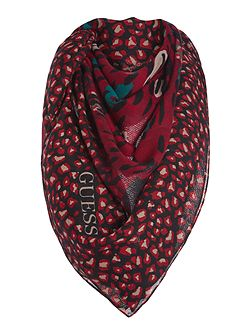 Abstract leopard print long scarf