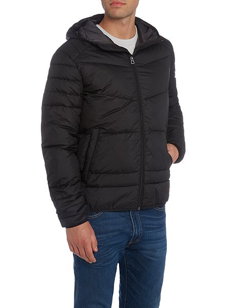 jack jones hooded padded jacket black house of fraser. Black Bedroom Furniture Sets. Home Design Ideas