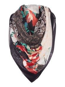 Guess Bird print logo long scarf