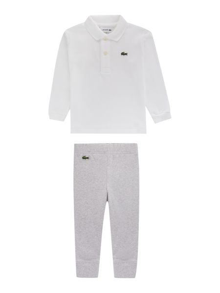 Lacoste Boys Pique Polo, Joggers & Rattle Gift Box