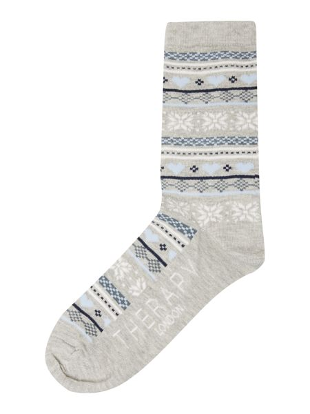 Therapy Blue fairisle sock