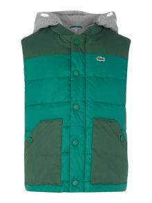 Lacoste Boys Padded Gilet With Jersey Hood