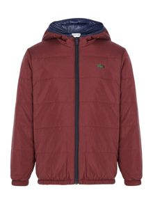 Lacoste Boys Reversible Padded Coat With Hood