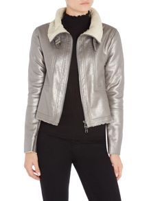 Oui Metallic aviator jacket