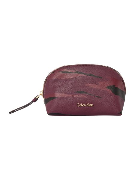 Calvin Klein Marissa burgundy medium cosmetic bag