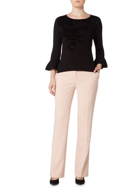 Ellen Tracy Floral placement jumper with bell sleeve