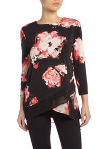 Ellen Tracy Long sleeve floral print triple later blouse