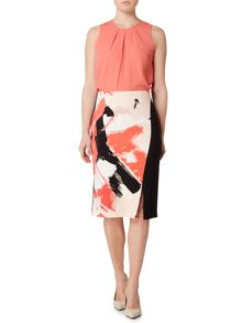 Ellen Tracy Sleeveless pleat front blouse