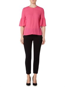 Ellen Tracy V neck top with 3/4 bell sleeve